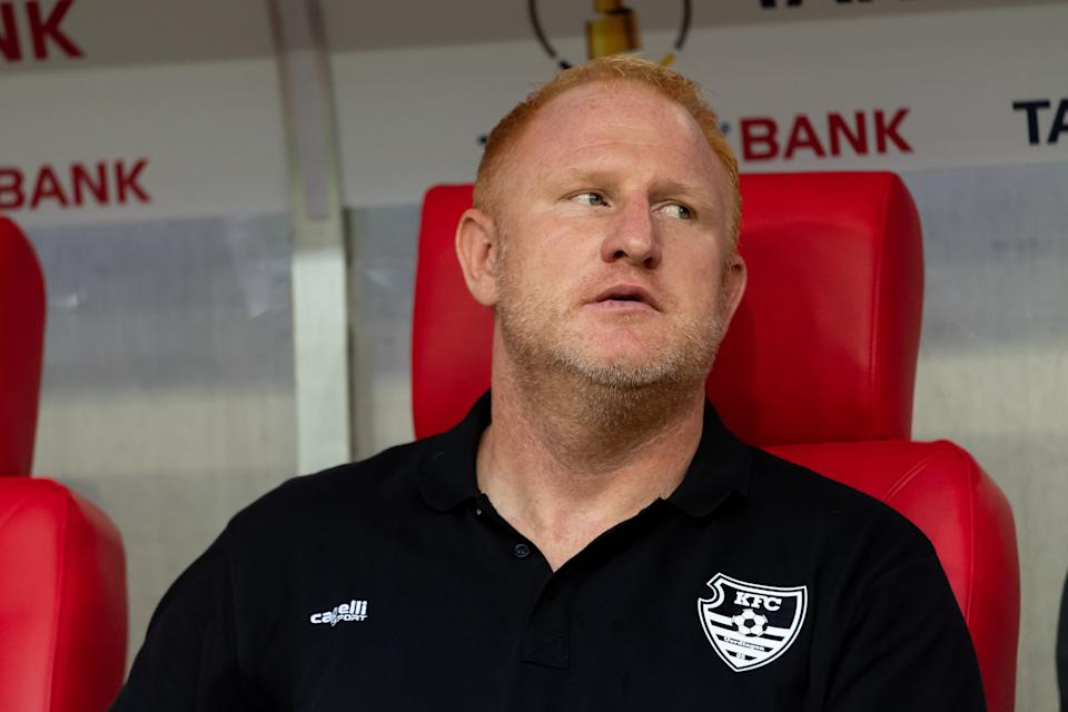 DUESSELDORF, GERMANY - AUGUST 09: head coach Heiko Vogel of KFC Uerdingen looks on prior to the DFB Cup first round match between KFC Uerdingen and Borussia Dortmund at Merkur Spiel Arena on August 09, 2019 in Duesseldorf, Germany. (Photo by TF-Images/Getty Images)