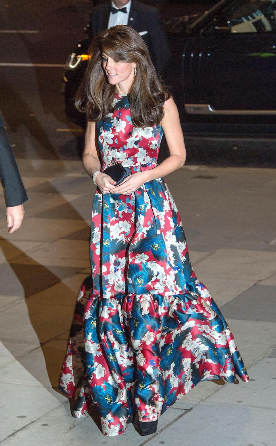 <p>The Duchess went for an unusually louder look for a dinner in London back in October 2015. Dressed in a floral silk gown by Erdem, she carried an Anya Hindmarch clutch and finished with suede Jimmy Choos. <em>[Photo: Getty]</em> </p>