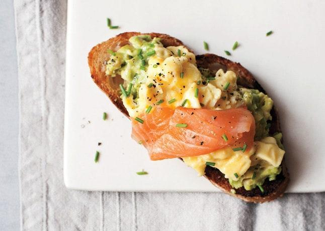 """This open-face sandwich makes a great meal or snack morning, noon, or night. <a href=""""https://www.bonappetit.com/recipe/scrambled-eggs-avocado-and-smoked-salmon-on-toast?mbid=synd_yahoo_rss"""" rel=""""nofollow noopener"""" target=""""_blank"""" data-ylk=""""slk:See recipe."""" class=""""link rapid-noclick-resp"""">See recipe.</a>"""