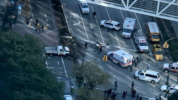 PHOTO: Scene where at least four were injured after being struck by a vehicle in lower Manhattan in New York City, Oct. 31, 2017. (Jeff/WFH/Twitter)