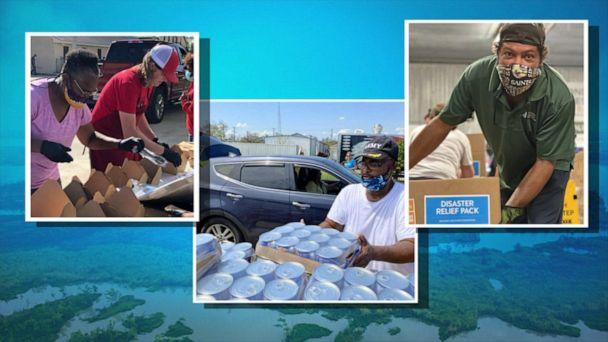 PHOTO: Volunteers help get food and supplies to the Louisiana community after being slammed by hurricanes. (ABC News)