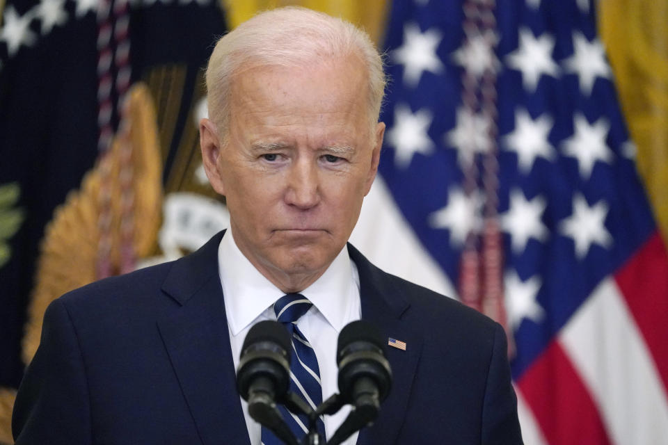 President Joe Biden listens to a question during a news conference in the East Room of the White House, Thursday, March 25, 2021, in Washington. (AP Photo/Evan Vucci)