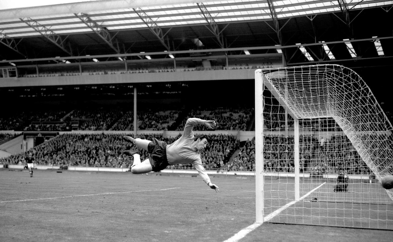 <p>Gordon Banks jumps to make a save in the match with Hungary at Wembley. </p>