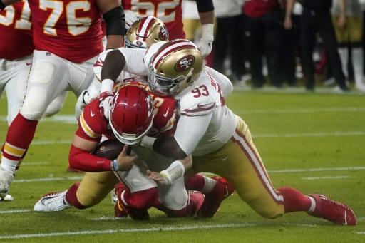 Patrick Mahomes looked out of sorts until the fourth quarter, throwing two interceptions in the face of fierce pressure from the 49ers defense including this sack by Earl Mitchell