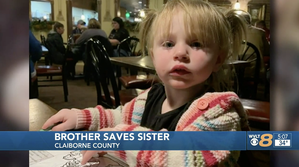 Eli saved his 22-month-old sister, Erin, by climbing through her bedroom window and getting her out of the home. Source: WVLT