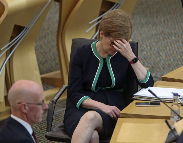 First Minister Nicola Sturgeon at the Scottish Parliament during Education Secretary John Swinney's ministerial statement on SQA exam results to MSPs