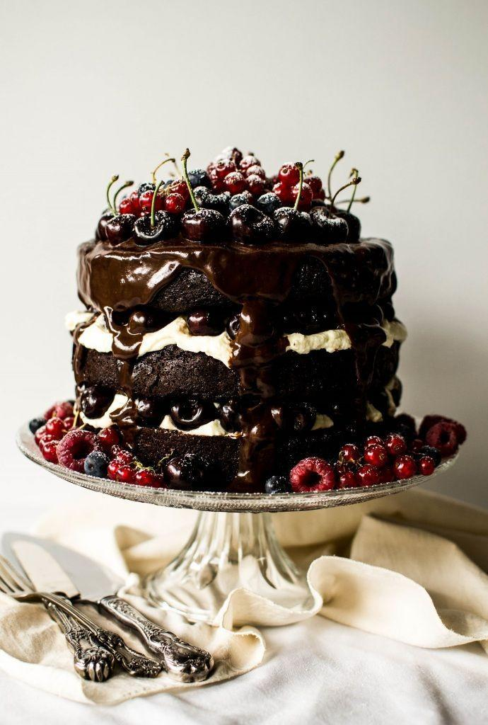 """<p>The ultimate chocolate-cherry dessert is even better when it's dripping with fudge.</p><p>Get the recipe from <a href=""""http://www.butterandbrioche.com/black-forest-gateau/"""" rel=""""nofollow noopener"""" target=""""_blank"""" data-ylk=""""slk:Butter and Brioche"""" class=""""link rapid-noclick-resp"""">Butter and Brioche</a>.</p>"""