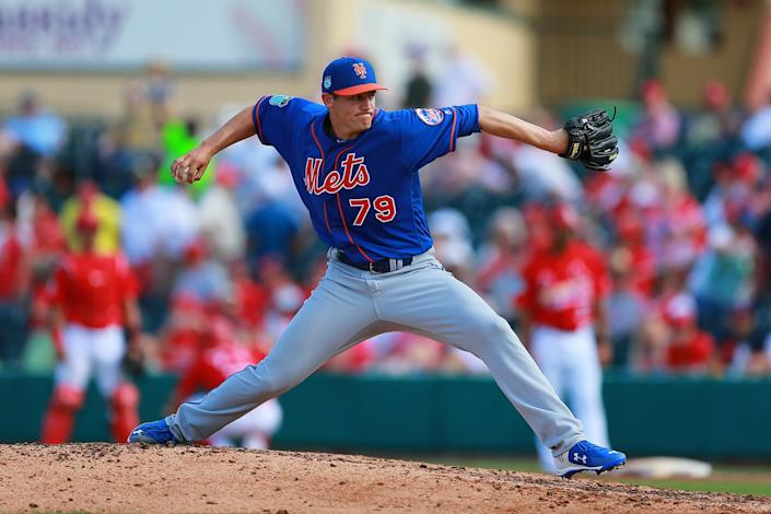 <p>New York Mets pitcher Paul Sewald throws in the seventh inning of a spring training baseball game against the St. Louis Cardinals at Roger Dean Stadium in Jupiter, Fla., Wednesday, March 1, 2017. Sewald hopes to make the team and travel north with the Mets. (Gordon Donovan/Yahoo Sports) </p>