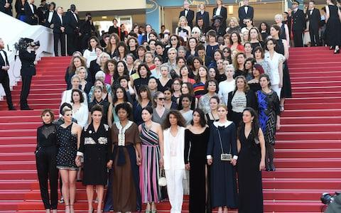 82 actresses, female producers and directors who marched arm in arm to demand equality - Credit: Dominique Charriau/WireImage
