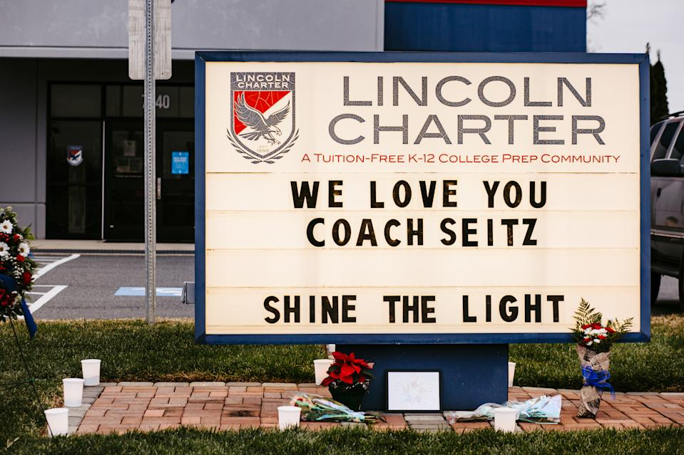 A sign at Lincoln Charter pays tribute to coach Jamie Seitz, who died of COVID-19. (Courtesy of Taylor Helms)