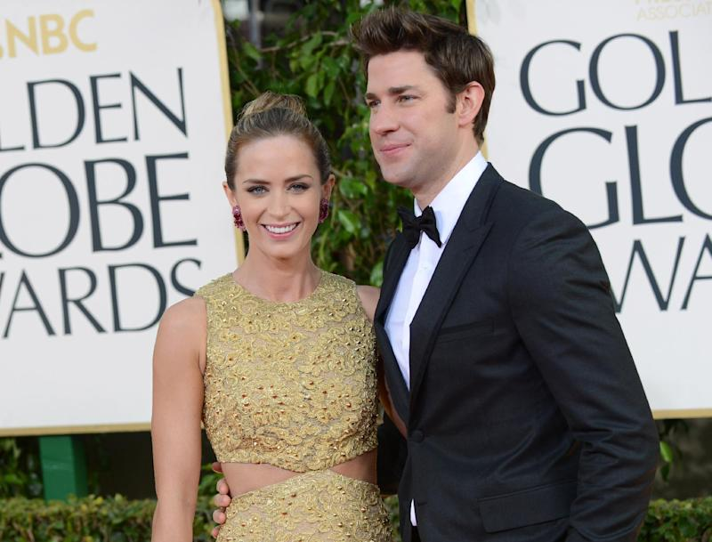 FILE - This Jan. 13, 2013 file photo shows married actors Emily Blunt, left, and John Krasinski at the 70th Annual Golden Globe Awards in Beverly Hills, Calif. Krasinski is hosting Massachusetts General Hospital Cancer Center's annual fundraiser known as the one hundred gala set for Wednesday evening. He will be accompanied by his wife Emily Blunt. Other celebrities expected to appear include rock musician Tom Hamilton of Aerosmith and New England Patriots owner Jonathan Kraft. (Photo by Jordan Strauss/Invision/AP, file)
