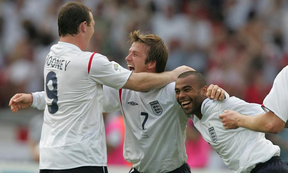 David Beckham celebrates with Wayne Rooney and Ashley Cole after scoring the goal against Ecuador that took England into the 2006 World Cup quarter-finals.