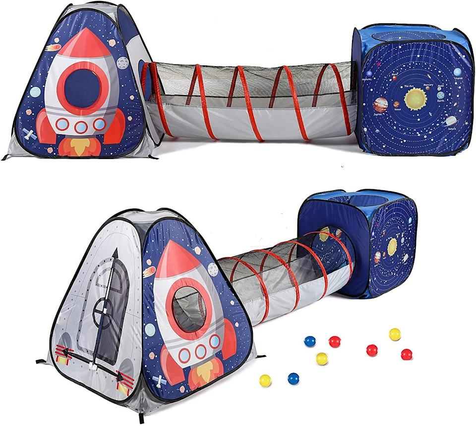 """Not only is this indoor/outdoor tent easy to assemble, it includesa castle tent, crawl tunnel and square tent so kids can reenact your favorite scenes from """"2001: A Space Odyssey"""" — or, you know, use their own imagination for playtime. Totally their call.<br /><br /><strong>Promising review</strong>: """"My 2-year-old loves this tunnel and play tent set. It appears well-made, the tunnel is flexible and easy to adjust to different spaces (ha). Sadly,<strong>no plastic balls are included in this product (despite the images, which appear to be merely a suggestion)</strong>, but for a child as young as mine perhaps this is for the best. My daughter loves pointing at the planets and other celestial objects and identifying them. So it's an educational toy, too."""" —<a href=""""https://amzn.to/3dHySTr"""" target=""""_blank"""" rel=""""noopener noreferrer"""">MamaMaiasaura</a><br /><strong><br />Get it from Amazon for<a href=""""https://amzn.to/2PiSPXy"""" target=""""_blank"""" rel=""""noopener noreferrer"""">$36.99</a>.</strong>"""