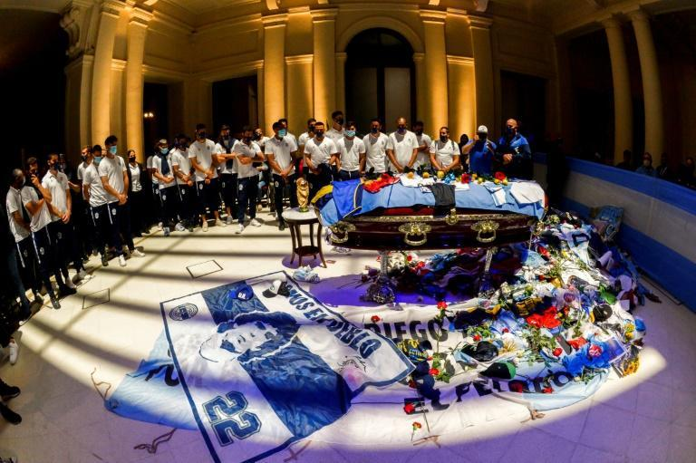 Players from the Gimnasia club that Diego Maradona was coaching when he died paid their personal respects at his coffin