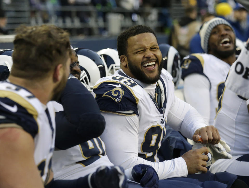 He's all smiles now: DT Aaron Donald and the Los Angeles Rams have agreed to a record-breaking contract extension. (AP)