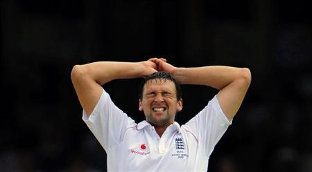 Harmison of England reacts after he bowls during the fifth Ashes test cricket match against Australia at The Oval in London