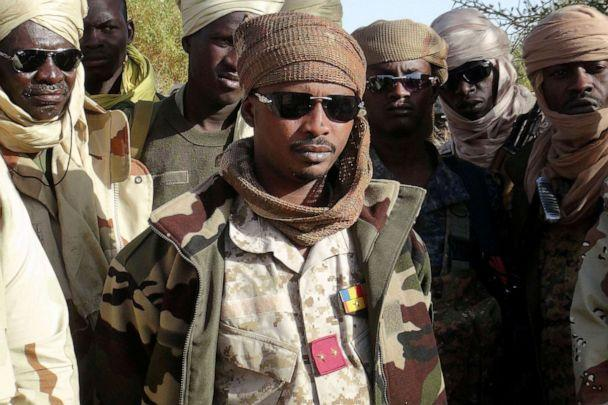 PHOTO: PHOTO: Mahamat Idriss Deby Itno, the son of Chad's late president Idriss Deby Itno, gathers with Chadian army officers in Kidal, northeastern Mali, on Feb. 7, 2013. (Cheick Diouara/Reuters, File)