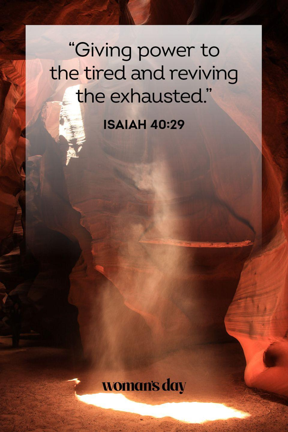 """<p>""""Giving power to the tired and reviving the exhausted."""" — Isaiah 40:29</p><p><strong>The Good News: </strong>God doesn't just guide us through hard times, he makes us stronger to withstand them. He will not leave us hanging even in the darkest of days.</p>"""