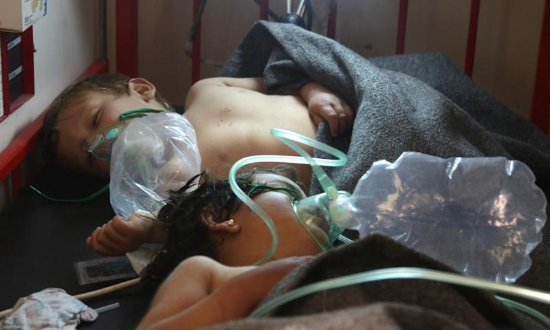 Syrian children receive treatment at a hospital following a suspected toxic gas attack in Khan Sheikhun.