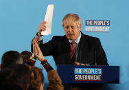 Britain's Prime Minister Boris Johnson gestures after speaking at a campaign event at the Queen Elizabeth II Centre in London, Friday, Dec. 13, 2019. Prime Minister Boris Johnson's Conservative Party has won a solid majority of seats in Britain's Parliament — a decisive outcome to a Brexit-dominated election that should allow Johnson to fulfill his plan to take the U.K. out of the European Union next month. (AP Photo/Frank Augstein)