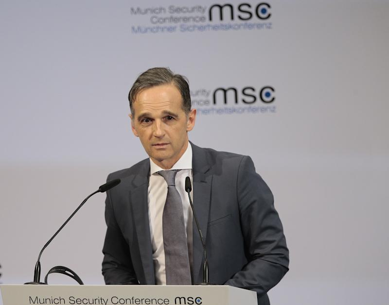 MUNICH, GERMANY - FEBRUARY 14: German Foreign Minister Heiko Maas attends the 56th Munich Security Conference at Bayerischer Hof Hotel in Munich, Germany on February 14, 2020. (Photo by Abdulhamid Hosbas/Anadolu Agency via Getty Images)
