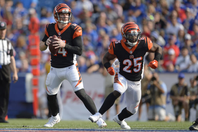 File-This Aug. 26, 2018, file photo shows Cincinnati Bengals quarterback Andy Dalton (14) looking to pass as running back Giovani Bernard (25) blocks during the first half of a preseason NFL football game in Orchard Park, N.Y. Dalton has proven he can be among the leagues most efficient passers when hes got time. Hes not as adept at improvising, and last year he spent a lot of time on the run because of the lines inability to protect him. (AP Photo/Adrian Kraus, File)