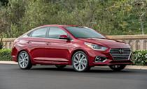 """<p>Hyundai's smallest sedan, the <a href=""""https://www.caranddriver.com/hyundai/accent"""" rel=""""nofollow noopener"""" target=""""_blank"""" data-ylk=""""slk:Accent"""" class=""""link rapid-noclick-resp"""">Accent</a>, is built on the same assembly line and uses the same chassis and powertrains as the <a href=""""https://www.caranddriver.com/kia/rio"""" rel=""""nofollow noopener"""" target=""""_blank"""" data-ylk=""""slk:Kia Rio"""" class=""""link rapid-noclick-resp"""">Kia Rio</a>. But this time it's the Hyundai with the better initial quality rating. </p><p>Unlike the Rio, the Accent is available in just one body style, a four-door sedan. Three trim levels are available, SE, SEL and Limited. They're all powered by the same 120-hp 1.6-liter four-cylinder, which trades peak horsepower for fuel efficiency. The SEL and Limited come standard with the CVT automatic, while the base Accent SE offers a six-speed manual or the CVT. Its base price of just over $16,000 is with the manual. </p><p>With the automatic the small sedan has EPA estimates of 33 mpg city and 41 mpg highway, and the lightweight Accent is fun to drive. It feels lively and it's easy to pitch it into corners. Its suspension also smooths out rough roads adequately and the Insurance Institute for Highway Safety named it a Top Safety Pick.</p>"""