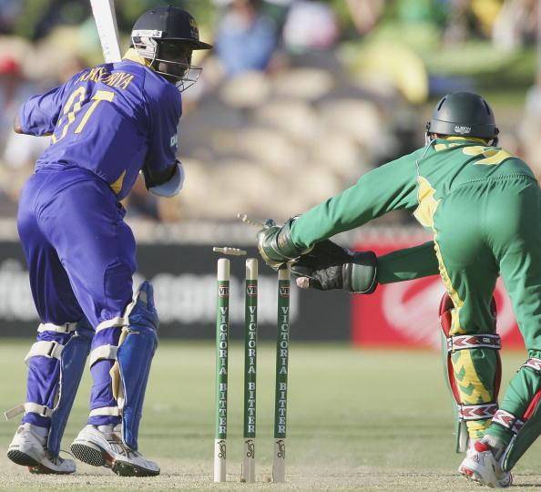 ADELAIDE, AUSTRALIA - JANUARY 24:  Sanath Jaysuriya of Sri Lanka is stumped by Mark Boucher of South Africa during Game 6 of the VB Series between South Africa and Sri Lanka played at the Adelaide Oval on January 24, 2006 in Adelaide, Australia.  (Photo by Hamish Blair/Getty Images)