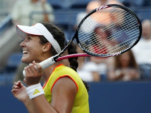 Laura Robson of Great Britain reacts after beating Kim Clijsters of Belgium in the second round of play at the 2012 US Open tennis tournament, Wednesday, Aug. 29, 2012, in New York. (AP Photo/Mel C. Evans)