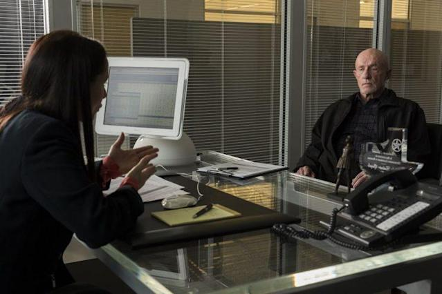 Jonathan Banks as Mike Ehrmantraut and Laura Fraser as Olive Chapman Thomas in AMC's Better Call Saul (Credit: Michele K. Short/AMC/Sony Pictures Television)