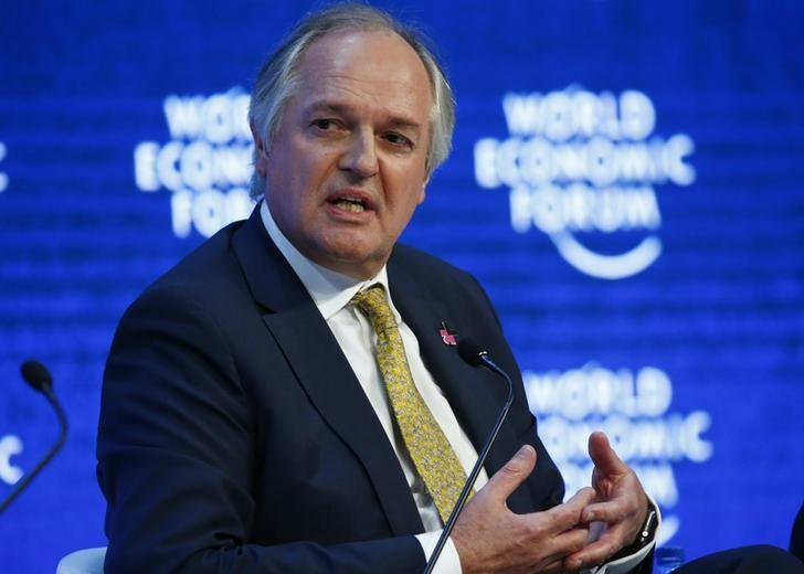 "Polman Chief Executive Officer of Unilever attends the session ""The New Climate and Development Imperative"" during the Annual Meeting of the WEF in Davos"