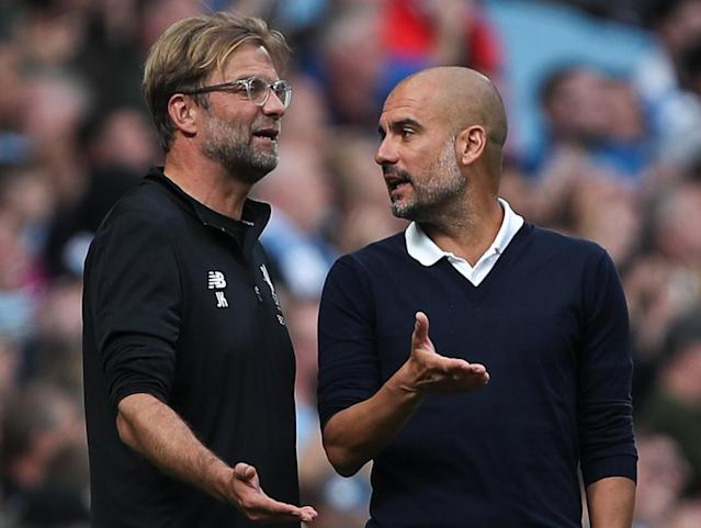 Jurgen Klopp (left) and Pep Guardiola have both been critical of the Premier League's holiday schedule. (Getty)