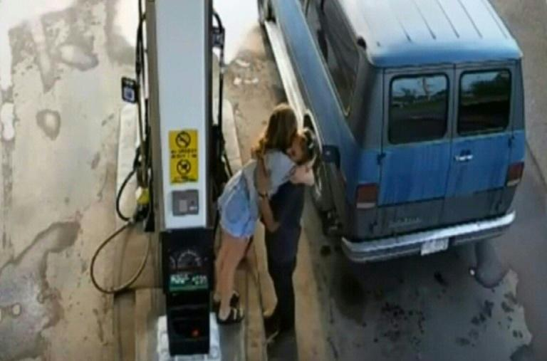 A video grab from CCTV footage taken on July 13, 2019 shows murder victims Lucas Fowler, 23, and Chynna Deese, 24, at a gas station in Fort Nelson, British Columbia, Canada (AFP Photo/-)
