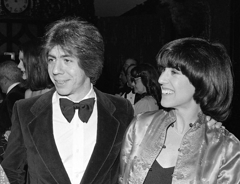 FILE - This Feb. 22, 1978 file photo shows screenwriter Nora Ephron, right, with her husband journalist and author Carl Bernstein in New York. Oscar-nominated filmmaker and author Nora Ephron is very ill, according to a representative for her publisher. Nicholas Latimer of Alfred A. Knopf confirmed her condition on Tuesday, June 26, 2012, hours after celebrity columnist and friend Liz Smith published what appeared to be a memorial for the writer. Smith told The Associated Press that she had spoken to Ephron's son Tuesday morning and was told that Ephron was dying. She said when she heard that funeral plans had already been arranged, she published the column on the website Women on the Web. Latimer did not provide any additional information on Ephron's condition. (AP Photo/Richard Drew, file)