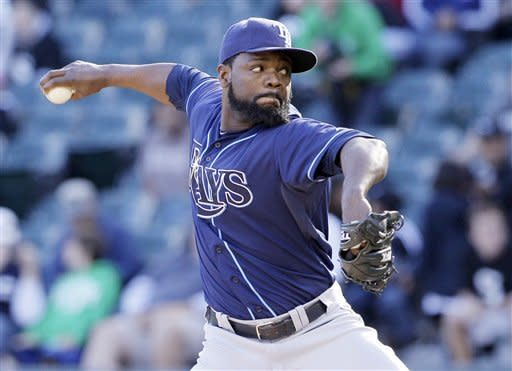 Tampa Bay Rays closer Fernando Rodney throws against the Chicago White Sox during the ninth inning of a baseball game in Chicago, Sunday, Sept. 30, 2012. The Rays won 6-2. (AP Photo/Nam Y. Huh)