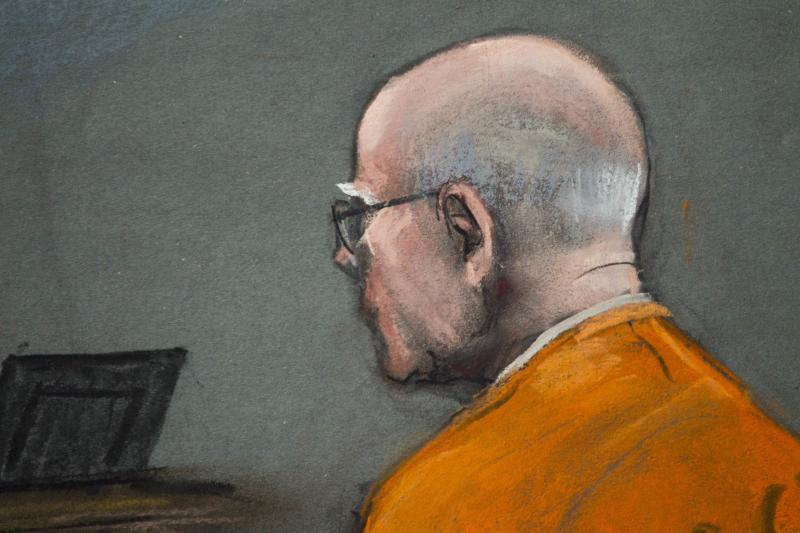 """Courtroom artist's sketch shows convicted mobster James """"Whitey"""" Bulger in Boston"""