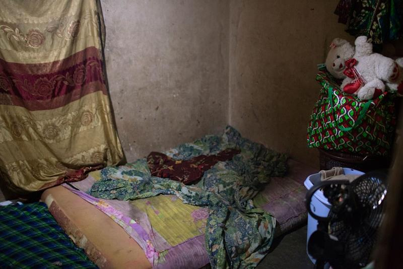 A bedroom of one of the girls who testified against Johnson, which she shares with a number of her relatives.