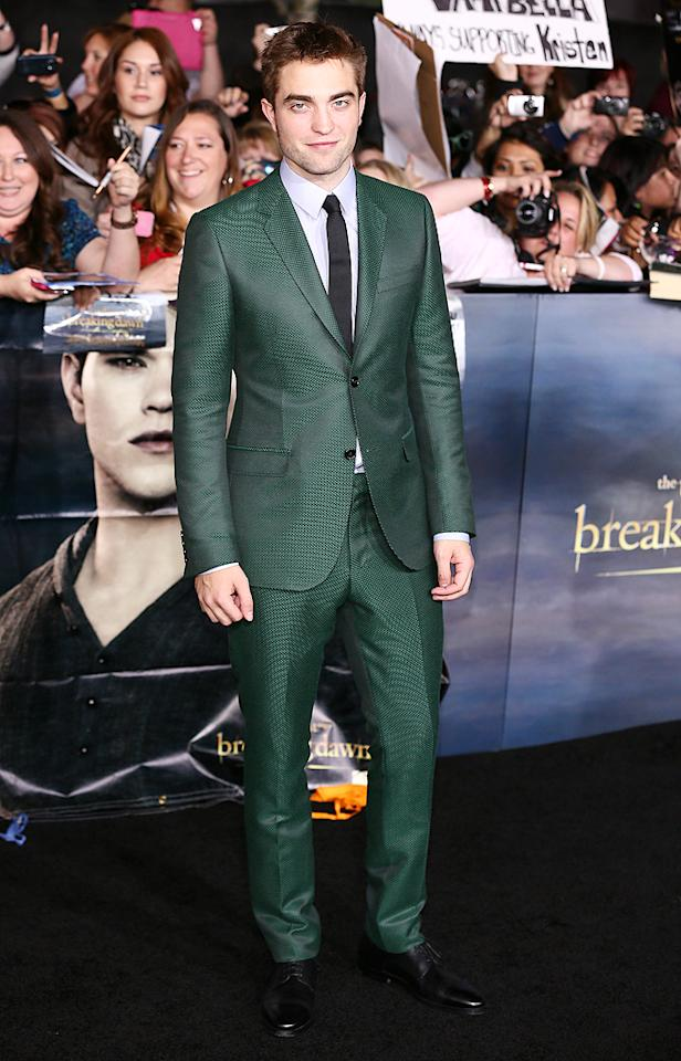 LOS ANGELES, CA - NOVEMBER 12: Robert Pattinson arrives at the 'The Twilight Saga: Breaking Dawn - Part 2' Los Angeles Premiere  at Nokia Theatre L.A. Live on November 12, 2012 in Los Angeles, California. (Photo by JB Lacroix/WireImage)