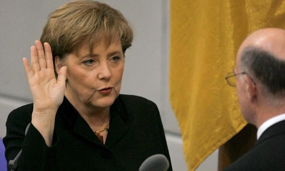Angela Merkel takes the oath of office as incoming chancellor in 2005.