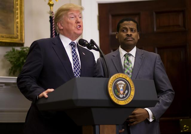 President Trump with Isaac Newton Farris Jr. (Photo: Eric Thayer/Bloomberg via Getty Images)