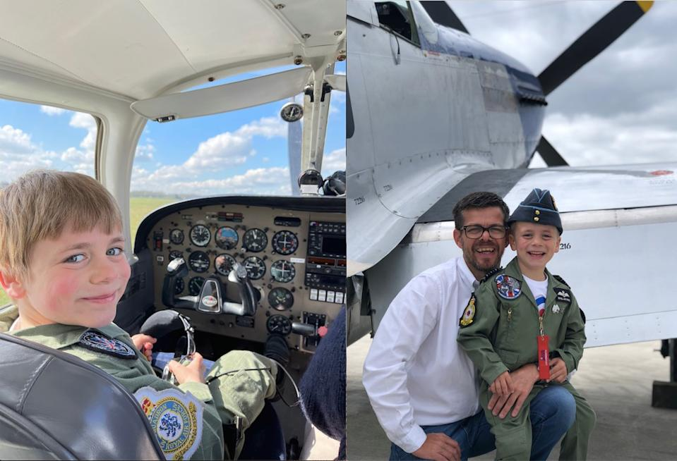 Jacob Newson, 7, undertakes his first flying lesson and is pictured with his dad, Andrew Newson who overcame his fear of flying to take him. (Caters)