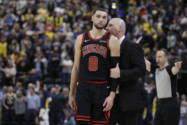 Chicago Bulls coach Jim Boylen talks with Zach LaVine during overtime of their 115-106 loss to the Indiana Pacers on Wednesday, Jan. 29, 2020, in Indianapolis. (AP/Darron Cummings)