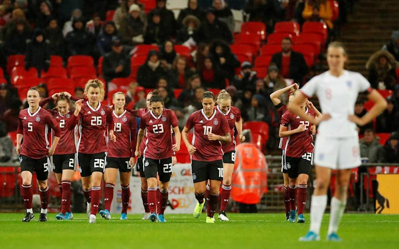 A record number of spectators for a women's game in England witnessed the home side slump to defeat to Germany - Action Images