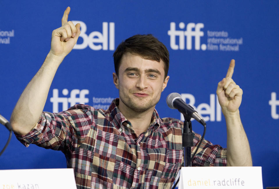"""Actor Daniel Radcliffe attends a news conference for the film """"The F Word"""" at the 38th Toronto International Film Festival in Toronto, September 8, 2013.    REUTERS/Fred Thornhill (CANADA - Tags: ENTERTAINMENT)"""