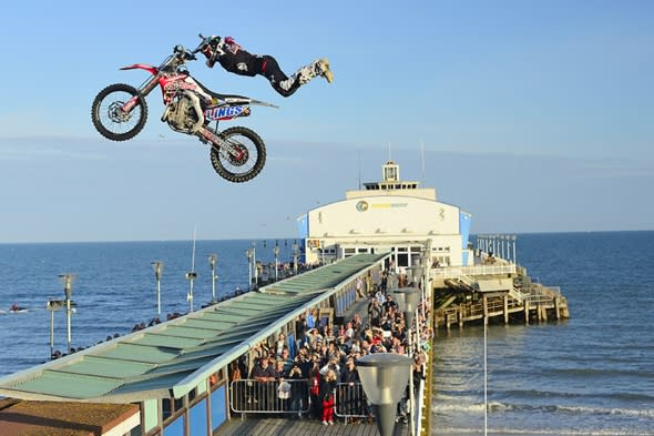 Motocross rider first person to jump Bournemouth Pier on motorbike