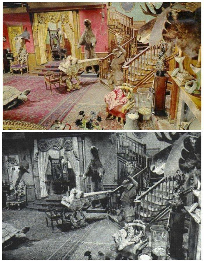 <p>This home's spooky vibe was achieved by the black-and-white filming — not the props, which when photographed in color reveal a technicolor mish-mosh of eclectic items.</p>