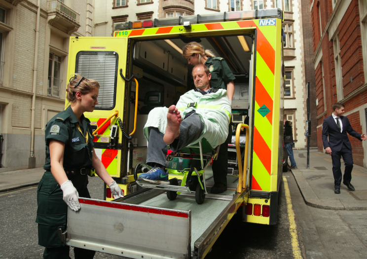 Mr Wooltorton was taken away by ambulance from the Labour manifesto signing (PA)