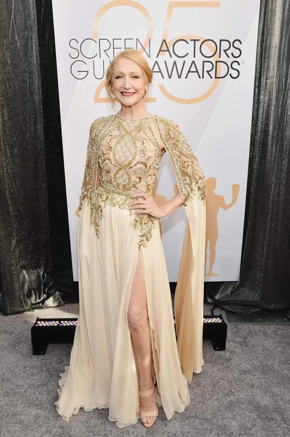 <p>Patricia Clarkson, who co-starred in HBO's <em>Sharp Objects</em>, showed some leg in a Zuhair Murad gown. (Photo: Getty Images) </p>