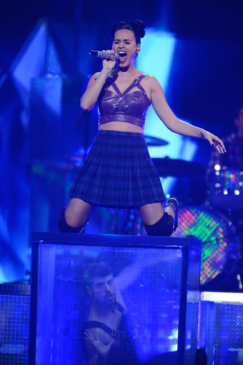 This Sept. 20, 2013 photo shows Katy Perry performing at the iHeartRadio Music Festival in Las Vegas, Nev. (Photo by Al Powers/Powers Imagery/Invision/AP)