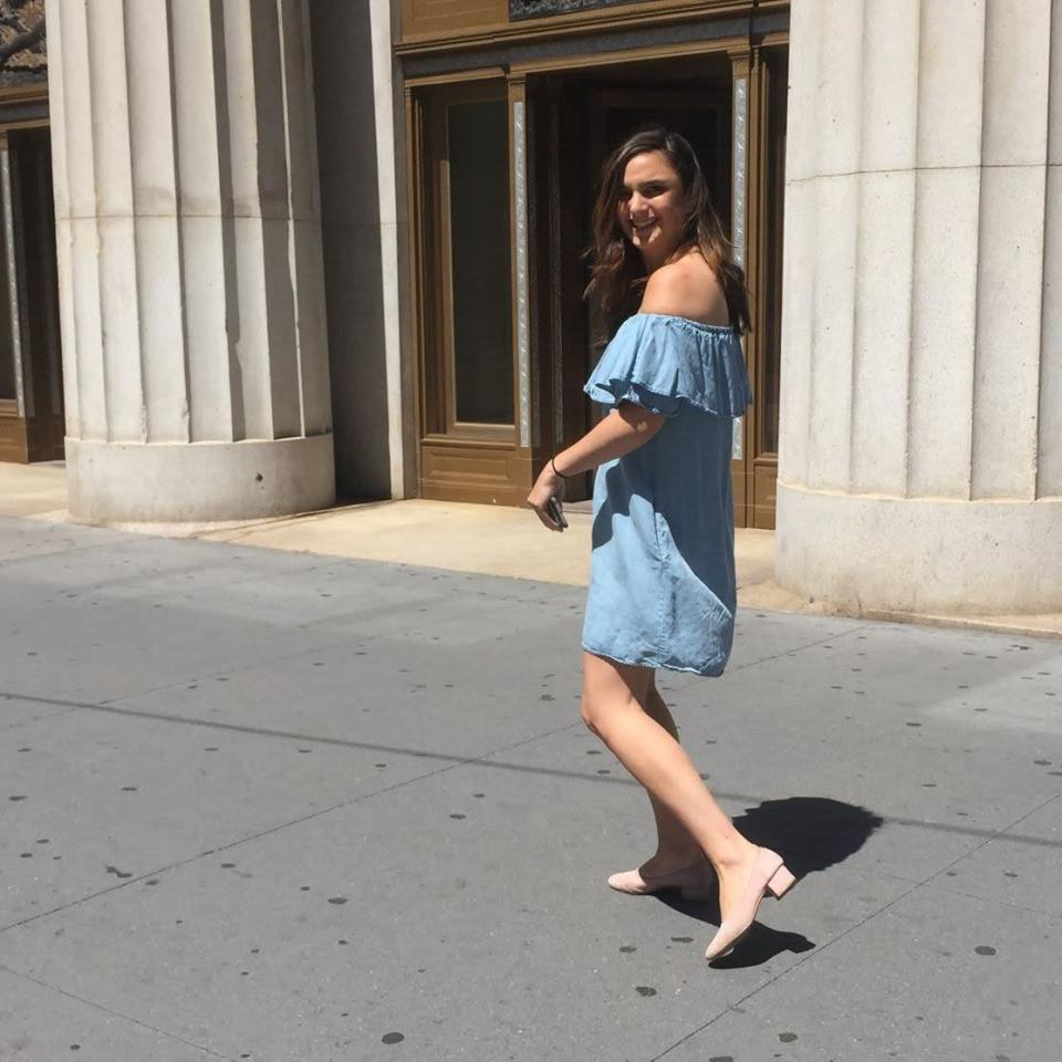 Lulu Krause, who documents every sighting of the Zara dress, in the piece herself. (Photo: blueofftheshoulderdress.tumblr.com)